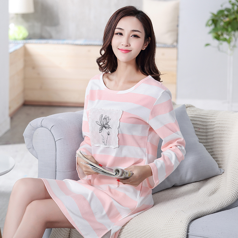 Autumn 100% Cotton Women's   Nightgown   Lounge Nightdress Mujer Striped Sleepwear Casual Nightwear Girl Loose   Nightgowns     Sleepshirt