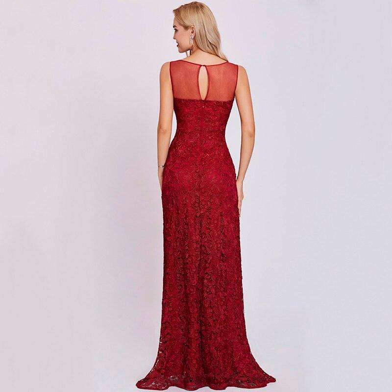 Tanpell scoop nacke klänning burgundy ärmlös mantel golv längd - Särskilda tillfällen klänningar - Foto 3