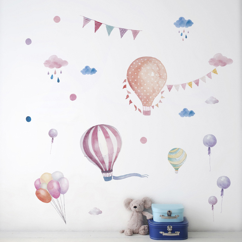 Globo de dibujos animados, pegatina de fondo con globos de aire caliente para habitaciones de bebés, decoraciones, papel tapiz para el hogar, Mural para guardería, pegatinas de habitación para niños