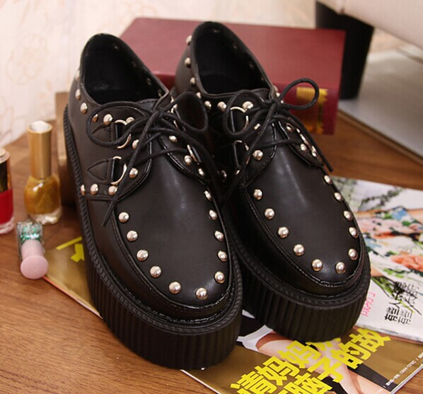 Black Rivets Flat platform round toe lacing PU leather Japan casual creepers punk flats shoes women 2015 spring autumn 109 - amao fashion shop store