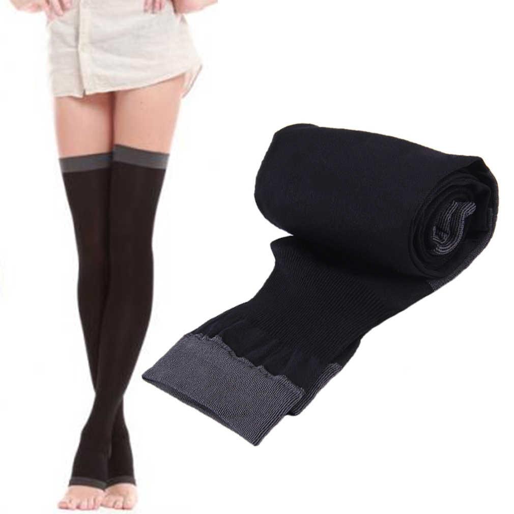 8998de34a04 2018 New Breathable Lady Compression Knee Toe Fat Burn Leg Slim Varicose  Veins Thigh High Stockings