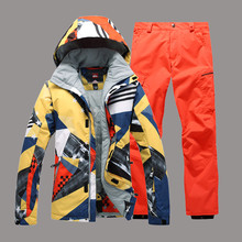 Men Ski Suit Gsou Snow Super Warm Skiing Snowboard Jacket+Pant Outdoor Sport Wear Camping Riding Winter Thicken Thermal Suit Set