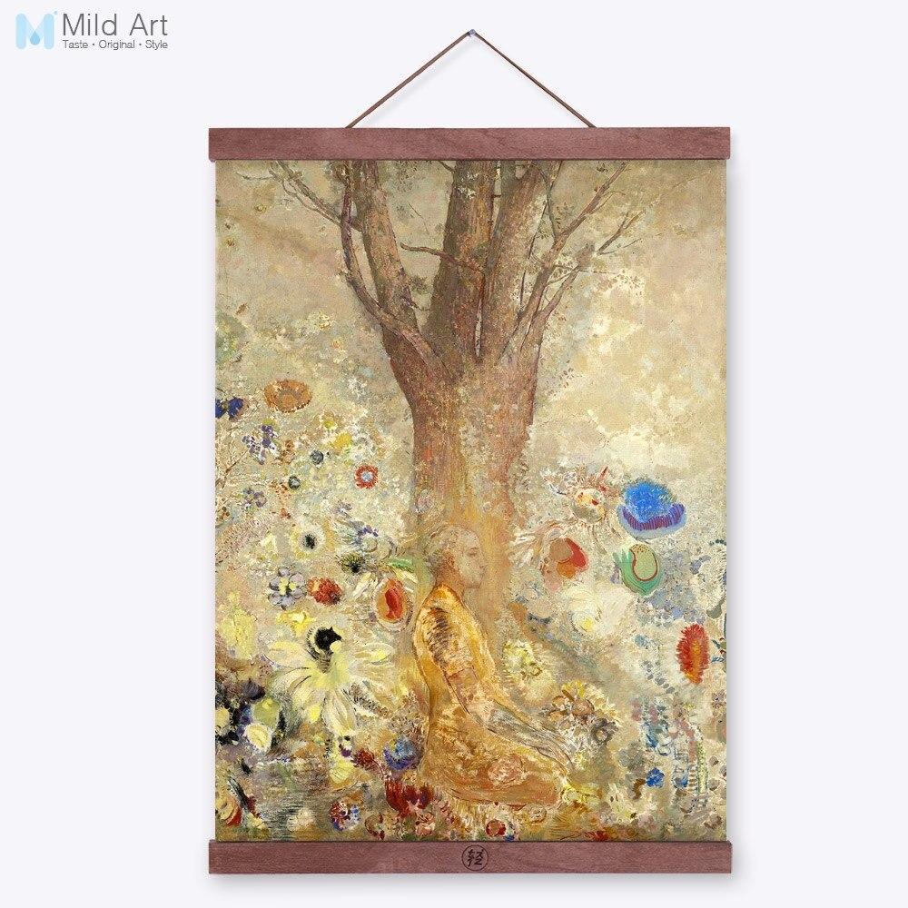 Odilon Redon абстракция Будда дерево цветок рамка с деревянным каркасом известный Холст Картина маслом дзен декор гостиной стены искусства картины прокрутки