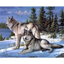 Diamond Painting Cross Stitch Animal Full Square Embroidery Wolf Needlework Mosaic Rhinestones Hobby Home Decor
