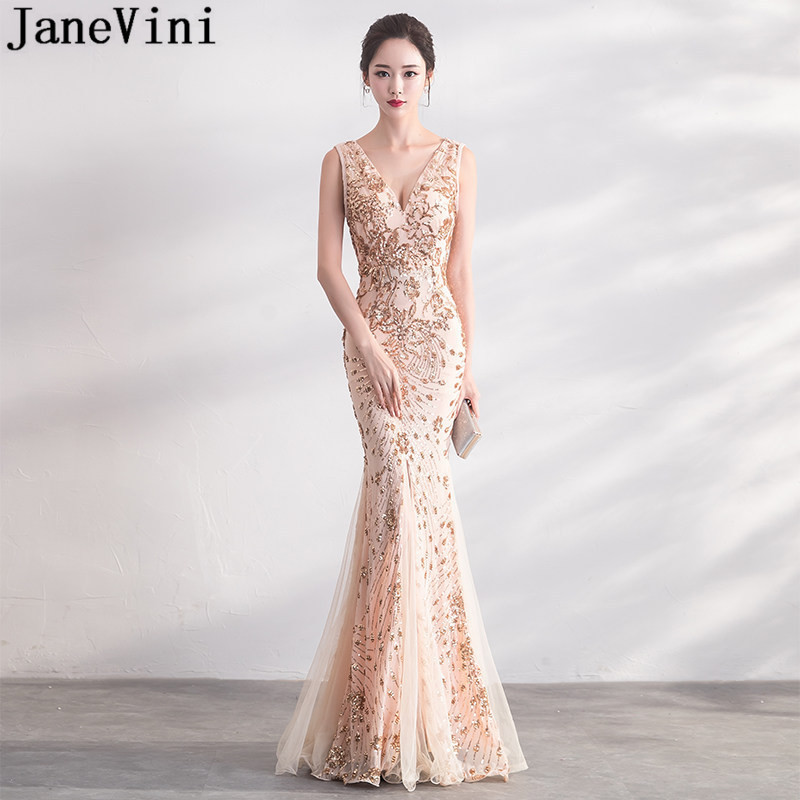 JaneVini Sparkly Champagne Gold Sequin Prom Dress Formal Mermaid ...