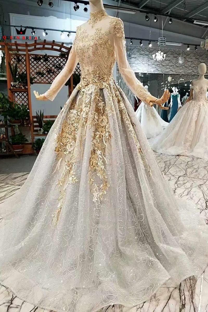 A line длина до пола Тюль Кружева винтажные Свадебные платья с длинными рукавами свадебное платье 2018 новый дизайн королевские свадебные WD35