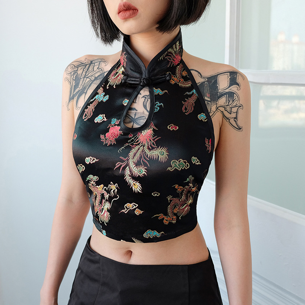 summer new style Sexy Halter Sleeveless Top Chinese fashion embroidery vest