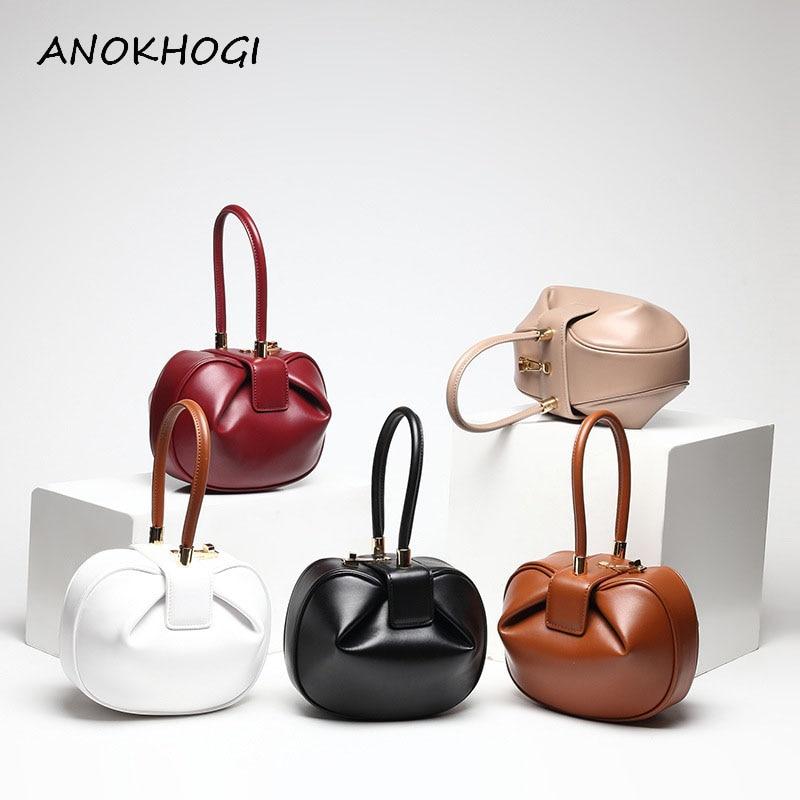 New Quality Genuine Leather Women Bucket Handbags Ladies Solid Dumpling Bag Top handle Bags Vintage Bell Shape Tote Bags B212
