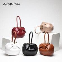 Nouvelle qualité en cuir véritable femmes seau sacs à main dames solide boulette sac poignée supérieure Vintage cloche forme fourre tout sacs B212