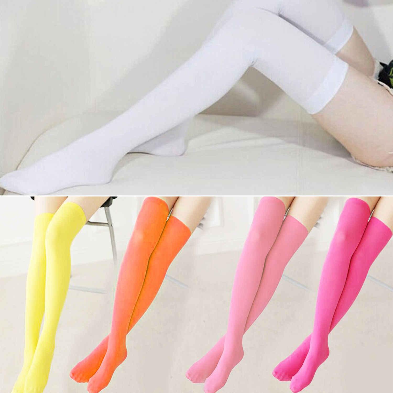 Seçmek için 7 renk Moda Kadın Giyim Kızlar Ekstra Uzun Çizme Çorap Diz Çorap Uyluk Yüksek Okul Kız Çorap