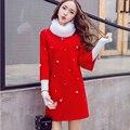 New2016 Autumn Women Cute Beaded woolen Dress elegant rabbit hair collar 3/4 sleeves plus size female casual vestido XXXXL98552