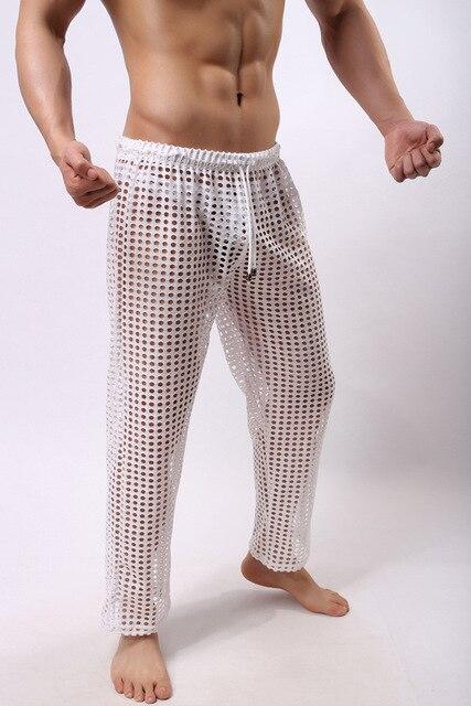 Men Pants Mesh Sheer Lounge Sexy Long Pants Male Casual Trousers Soft Comfortable Sleep Bottoms Homewear Y-oga Pants