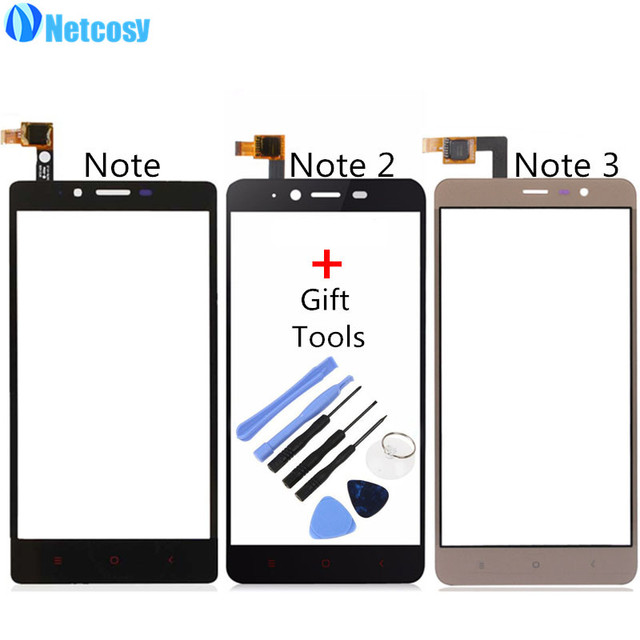 Netcosy Touch Screen Digitizer Front Touch Panel Glass Lens for Xiaomi Redmi Note 1 2 3 Note2 Note3 TouchScreen Repair+Tools