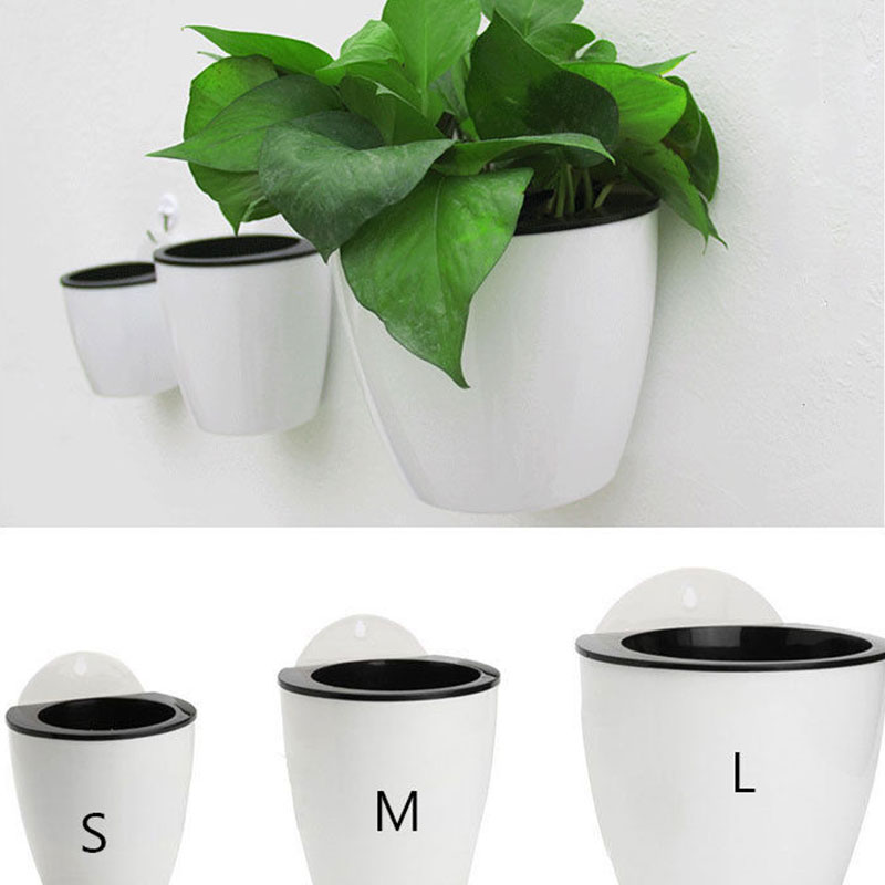 3 Sizes Self-Watering Plastic Flower Pot Wall Hang Pot Planter Strong Durable Home Decoration Creative Home Office Decor