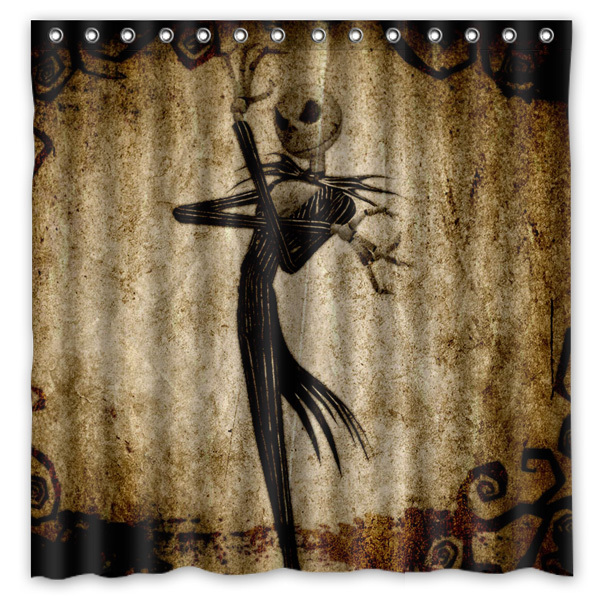 Jack Skellington Printing Waterproof Shower Curtain 100 Mildewproof Polyester Fabric Bath Curtains 72x72inch With 12