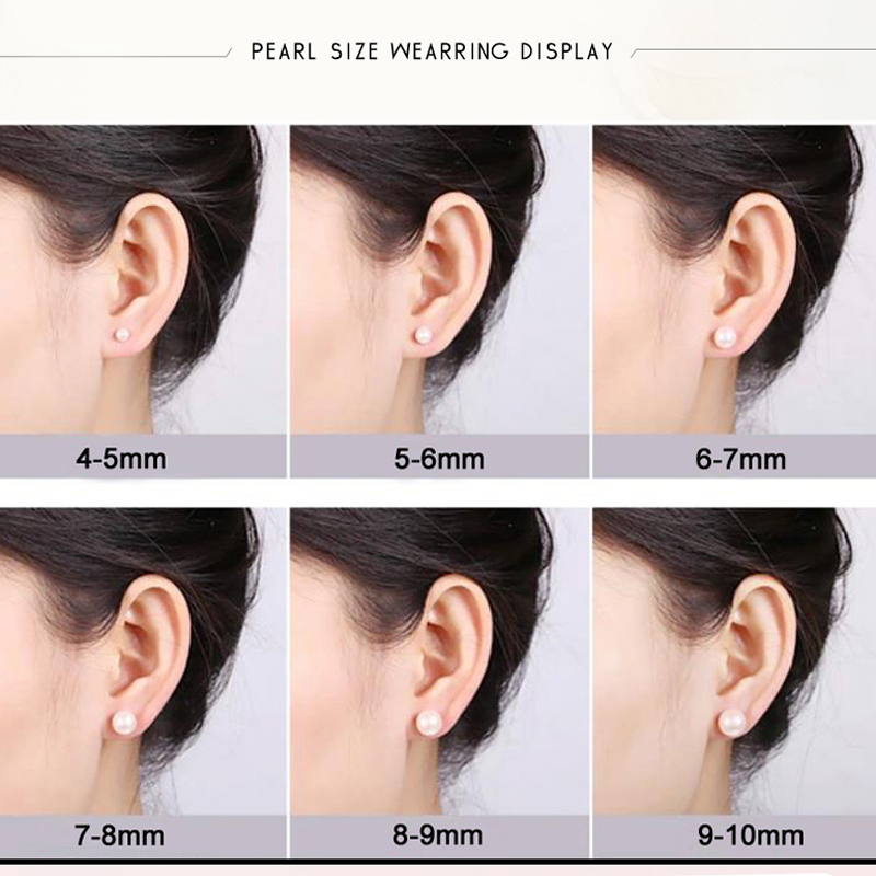 genuine freshwater white pearl earring baby girls pearl earings for kids brithday gifts 4-8mm AAA stud earring for women