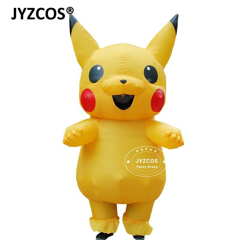 JYZCOS надувные Пикачу костюм Косплэй Пурим взрослых Pokemon Костюм Хэллоуин нарядное платье для женщин, девушек, детей Косплэй талисман