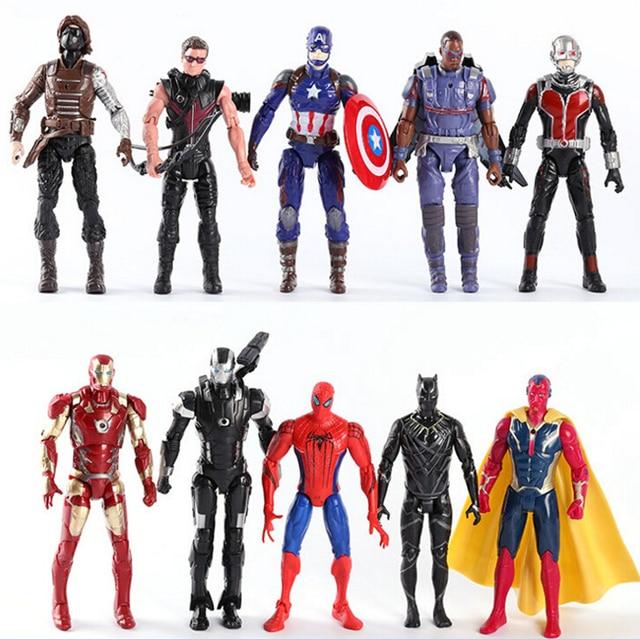 16 cm As Articulações Móveis Brinquedos do Homem De Ferro Homem Aranha Capitão América Vingadores o Homem-Formiga Brilhando Hawkeye Figuras de Ação brinquedo