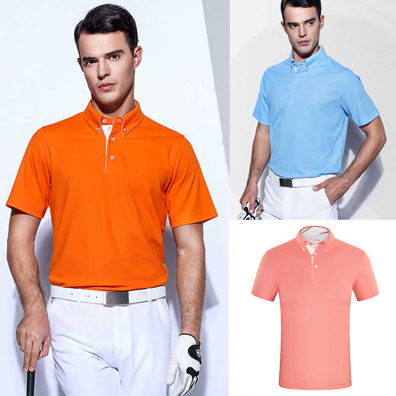 d362a5871 EAGEGOF Men Solid Color Short sleeve Golf sports wear Anti-sweat Breathable Quick  dry golf