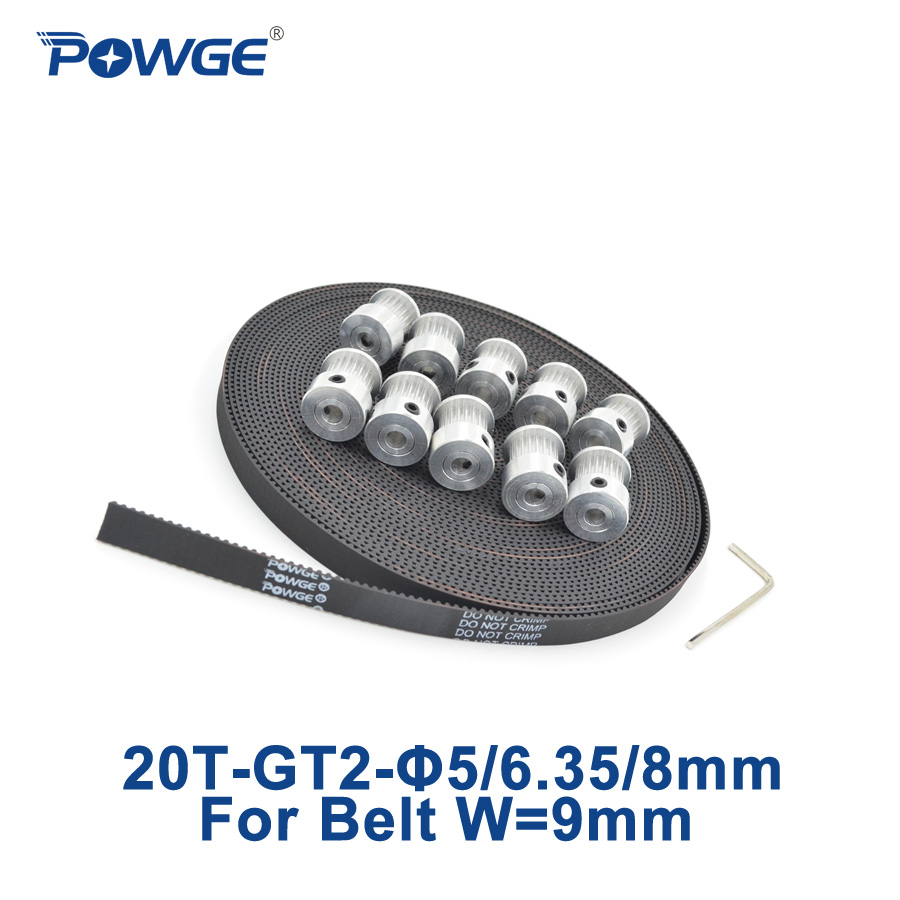 POWGE 10pcs GT2 Timing Pulley 20 Teeth Bore 5mm 6.35mm 8mm + 10Meters width 9mm GT2 Open Timing Belt 2GT belt pulley 20Teeth 20T powge 8pcs 32 teeth gt2 timing pulley bore 5mm 6 35mm 8mm 5meters width 9mm gt2 open timing belt 2gt pulley belt 32teeth 32t