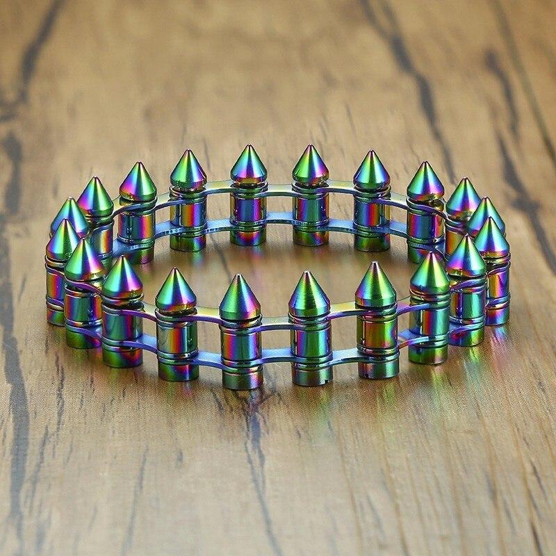 Very Unusual Men Bullet Bracelet in Stainless Steel Oxidation Rainbow Bracelets Western Male Jewelry цена