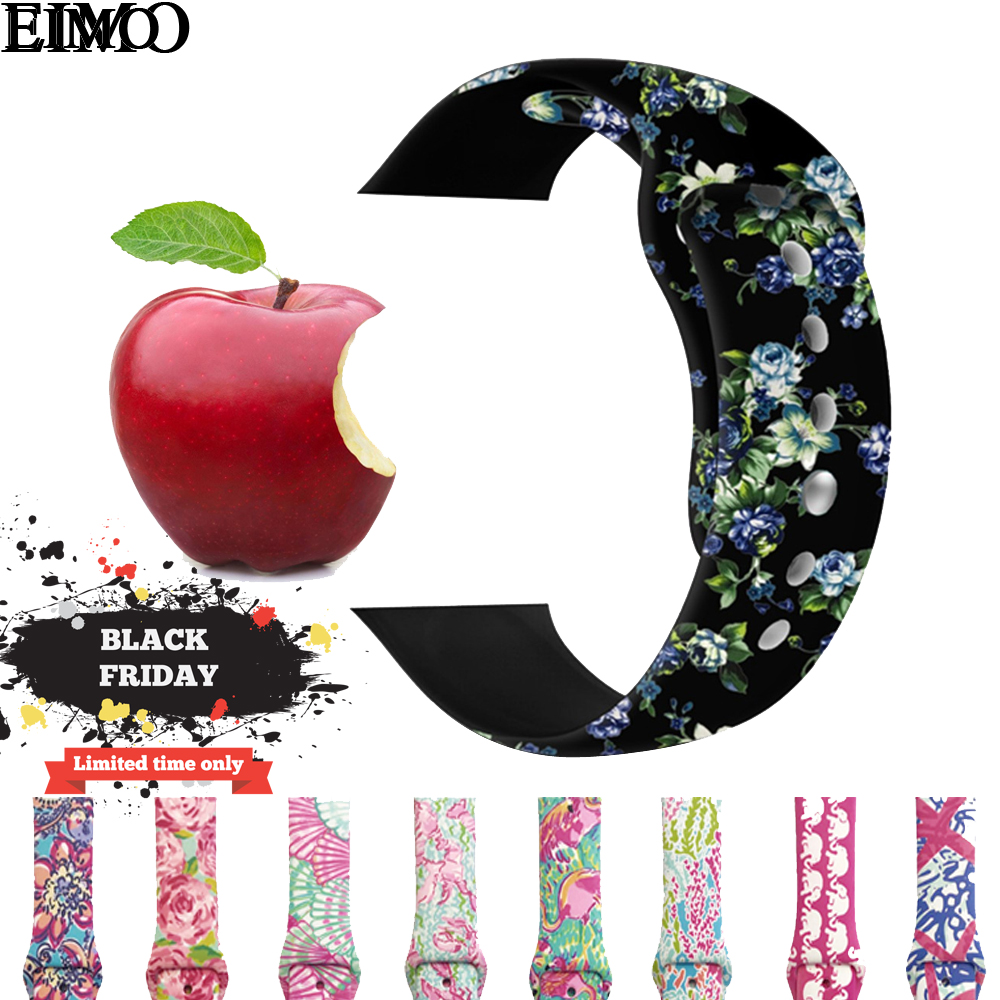 EIMO Sport Silicone Strap For Apple Watch band 42mm 44mm correa iwatch Series 4/3/2/1 38mm 40mm Wrist bands bracelet Watchband eimo sport loop strap correa for apple watch band 42mm 44mm 40mm 38mm iwatch series 4 3 2 1 woven nylon bracelet wrist watchband