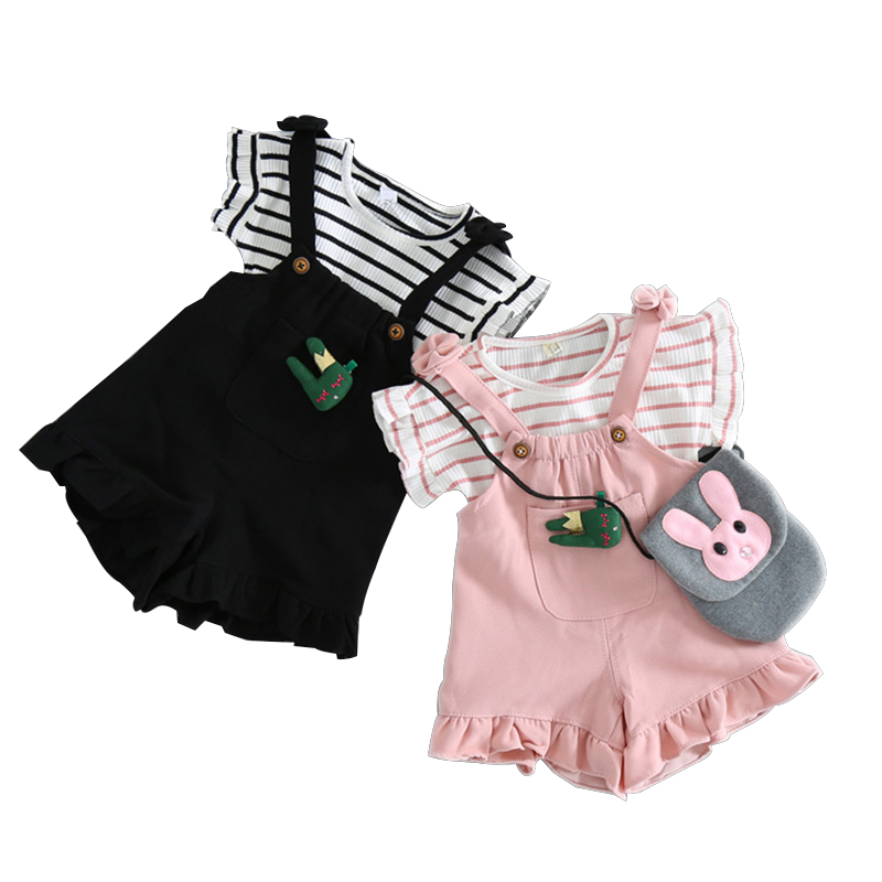 New Year Clothes For Girl Short Sleeve T Shirt + Overalls Baby Clothing Sets Cotton Striped Baby Girls Clothes Sets Spring Style sweet short sleeve striped t shirt flounced strap shorts swimsuit for girl