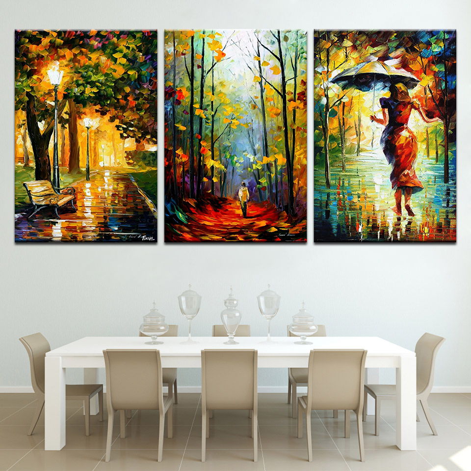 Modern Decor Canvas Painting Abstract Oil Painting 3 Piece Street Light Tree Wall Pictures For Living Room Art Figure Walk Rains