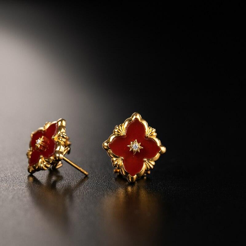 925 argent Zircon oreille goujon bijoux femmes cour européenne style vintage - 3