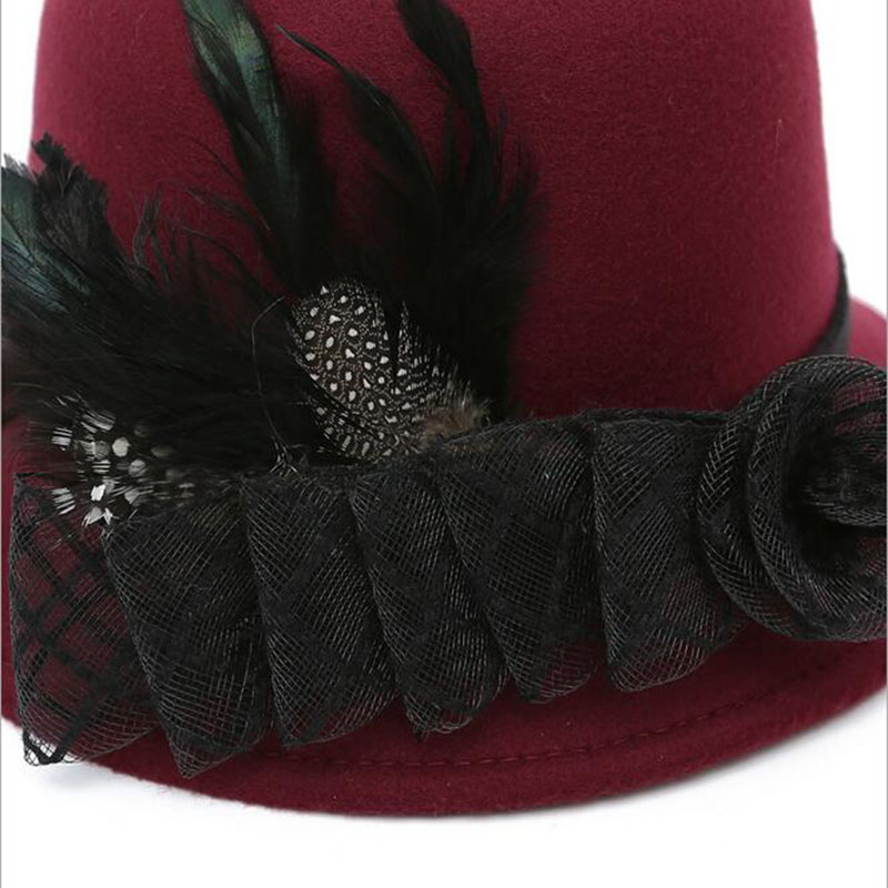 Hot 6pcs lot Ladys Mini Feather Gauze Top Hat Cap Lace fascinator Hair Clip Costume Accessory free sipping 2016 new in Women 39 s Fedoras from Apparel Accessories