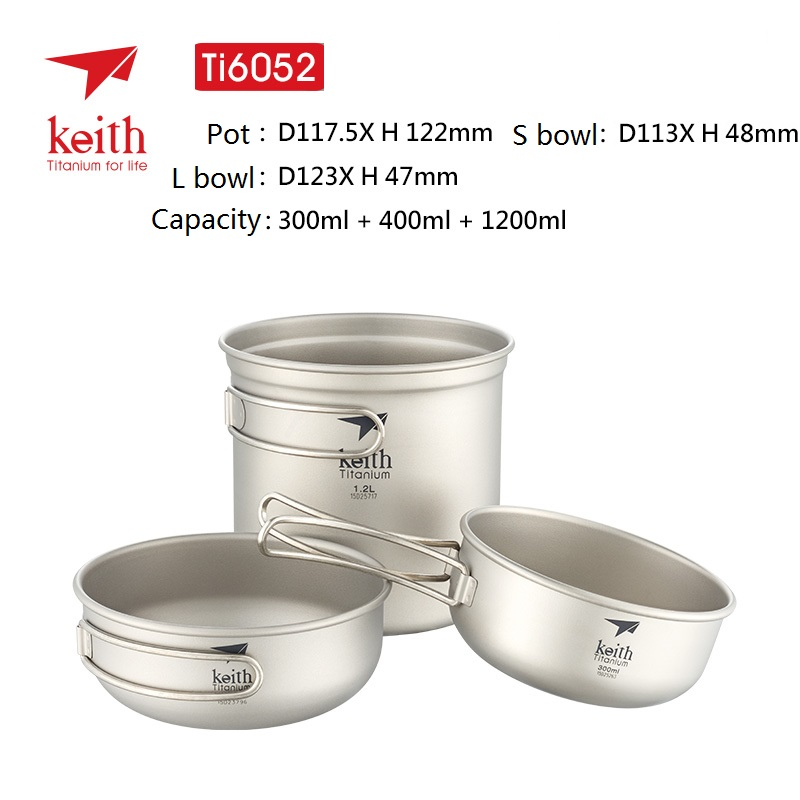 Campcookingsupplies Keith 3pcs Titanium Pan Bowel Pot Set Outdoor Camping Picnic Cooking Kitchen Folding Cookware Ti6053 Sports & Entertainment
