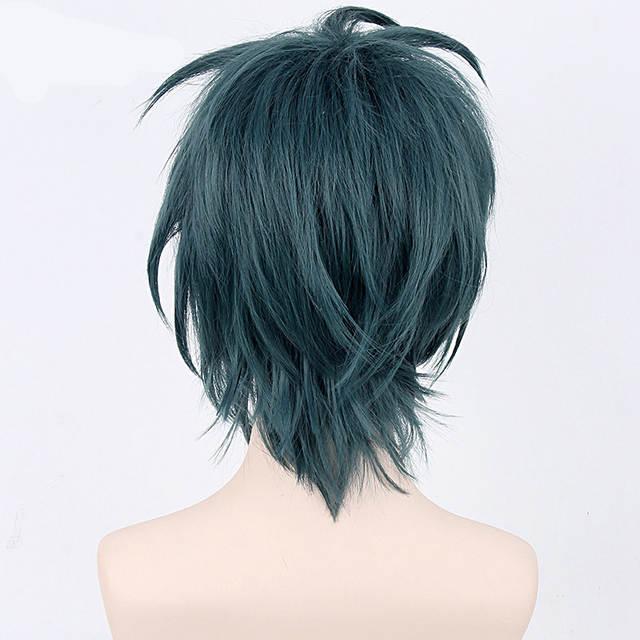 Us 15 45 16 Off Hataraku Maou Sama Satan Jacob Cosplay Wig For Man Boys Japanese Anime Costume Party Dark Green Synthetic Hair Wig 35cm In Anime