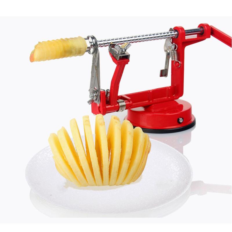Acero inoxidable 3 en 1 pelador de manzana corte de fruta rápida rebanado creativo hogar cocina herramienta quitar núcleo doble cabeza ventosa