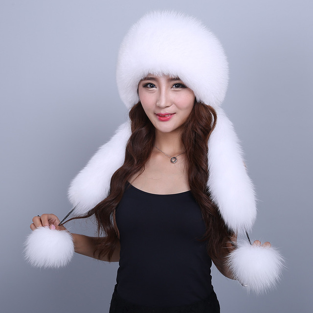 Hat Female Winter Women's Hat With Scarf Real Fox Fur Casual Fashion Real Fur Cap Solid Warm Thick Winter Female Hat
