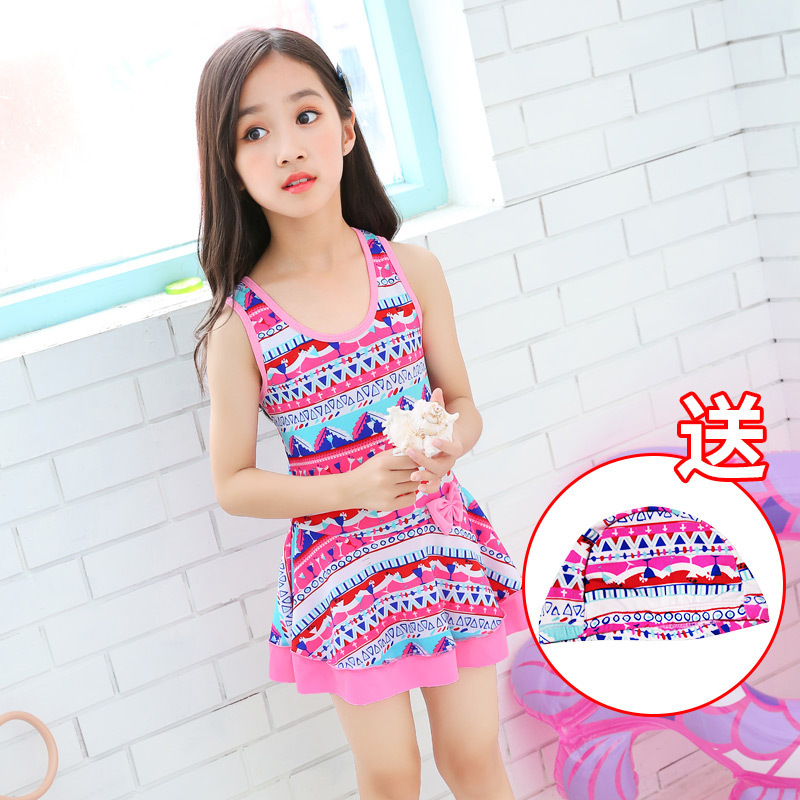 Girls'swimsuit, girls' Korean skirt swimsuit.(China)