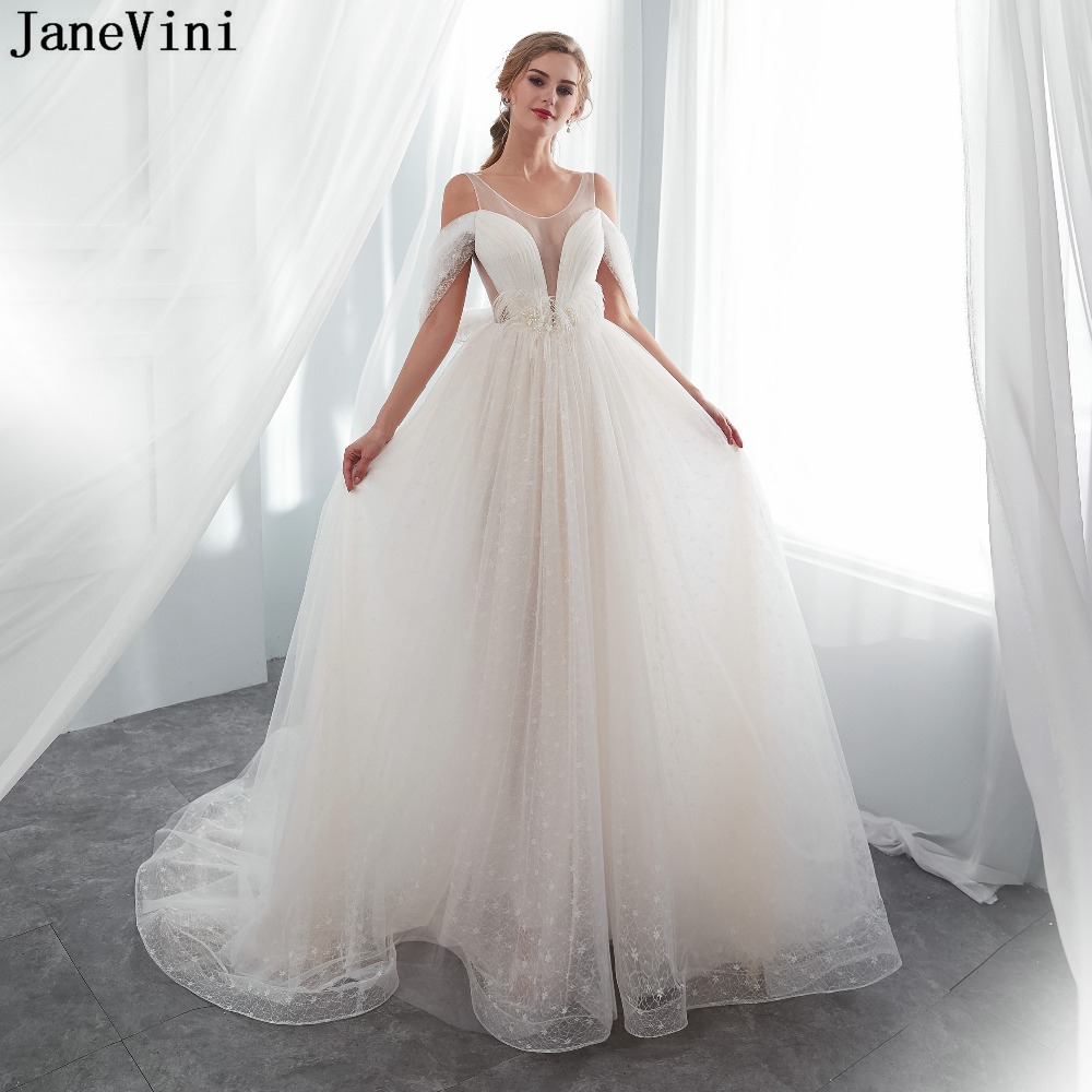 JaneVini Elegant Ivory Long   Bridesmaid     Dresses   A Line Sheer Scoop Neck Pearls Backless Lace Women Formal Prom Gowns Court Train