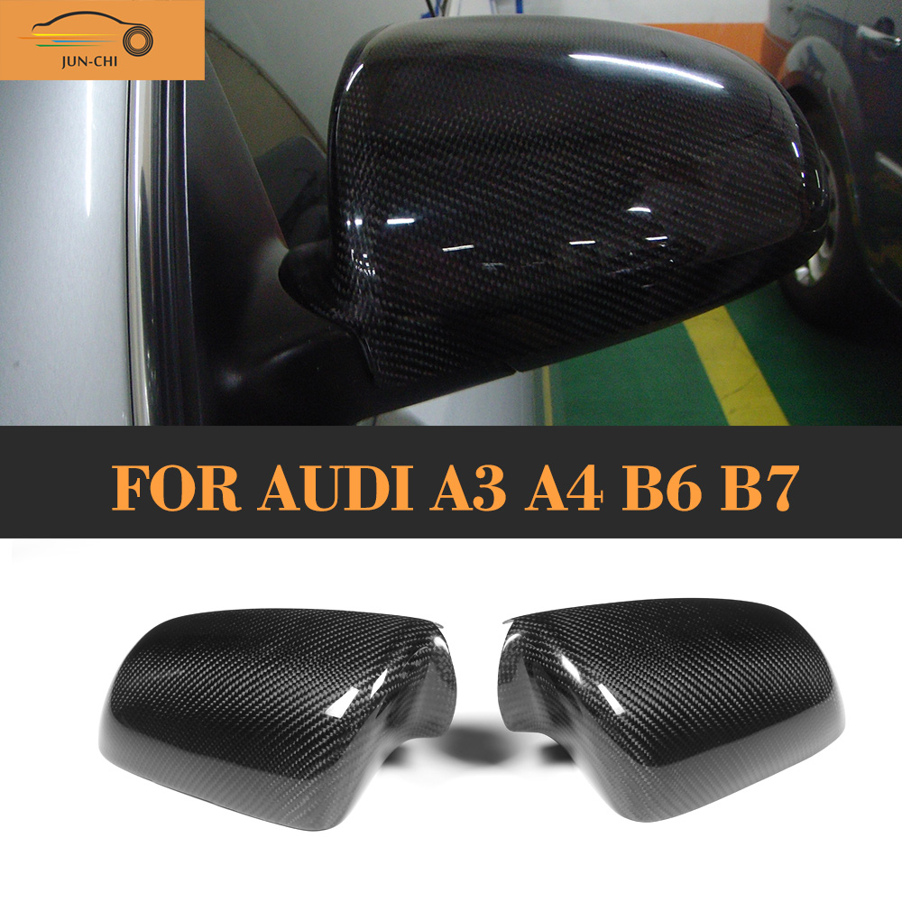 Carbon fiber Car Mirror Covers Caps for Audi A3 A4 B6 B7 2006 2007 Add On Style Without Side Assist for audi s3 2014 2015 add on carbon fiber mirror covers