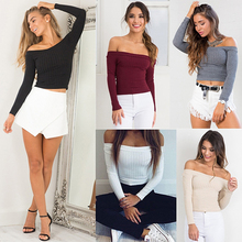 Women Fashion Sexy Off Shoulder Solid Color Long Sleeve Knitted Shirt Basic Top