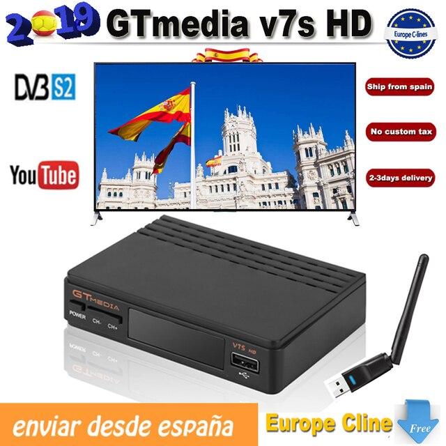 5pcs/lot gtmedia V7s DVB S2 Receptor europe cline for 1 year freesat v7 HD tv receiver With USB Wifi Support PowerVu Biss Key v7