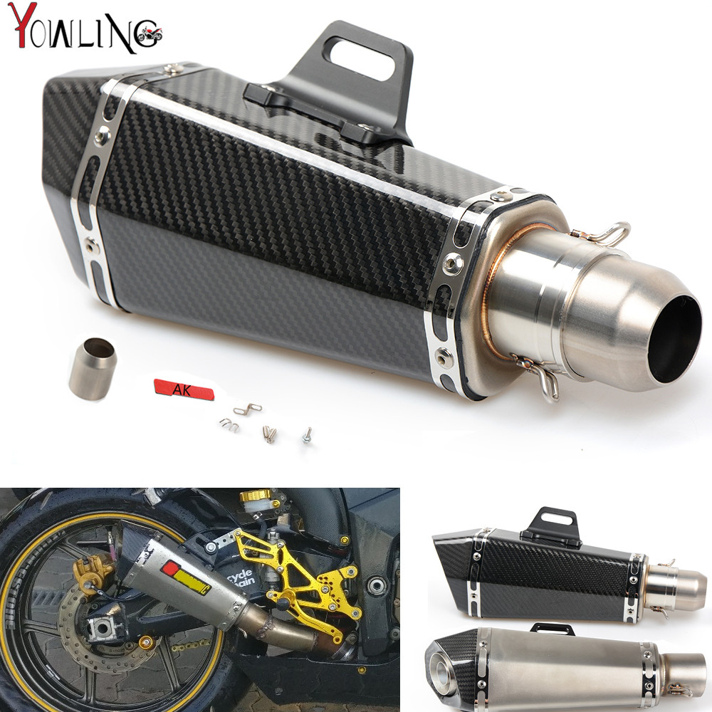 Motorcycle Real carbon fiber exhaust Exhaust Muffler pipe For kawasaki z750 z800 z1000 NINJA 250 300 SUZUKI GSXR600 750 11 14 free shipping carbon fiber id 61mm motorcycle exhaust pipe with laser marking exhaust for large displacement motorcycle muffler