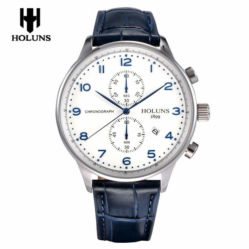 HOLUNS Reloj de cuarzo para hombre Cronógrafo Fecha Relojes Banda de - Relojes para hombres