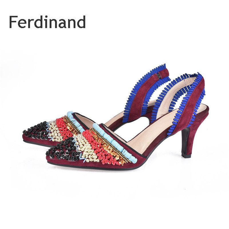 Fashion Genuine leather Women shoes Mixed color Red Black Gray High heel shoes Pointed toe Summer Party shoes Shallow Crystal black red 2015 full grain leather women s summer comfortable shoes pointed toe rhinestone fashion flat heel shoes for women