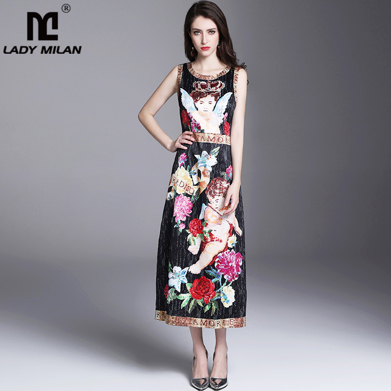 Lady Milan Womens O Neck Sleeveless Printed Letters Fashion Casual Mid Calf Dresses Designer Runway Dresses