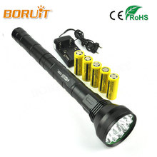 BORUIT 18T6 22000LM Highlight Torch Tactical Flashlight Lantern High Power Flash Light+Charger+5×26650 Battery Free DHL Shipping