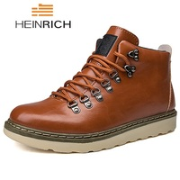 HEINRICH Leather Men Boots Lace Up Martin Men Shoes Autumn Winter Ankle Boots Man Comfortable Casual Shoes Men Bottine Homme