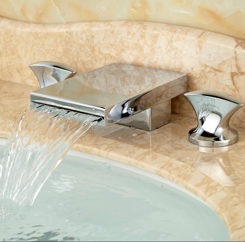 ФОТО Chrome Brass Waterfall Spout Basin Sink Mixer Taps Deck Mount Bathroom Widespread 3 Holes Water Faucet