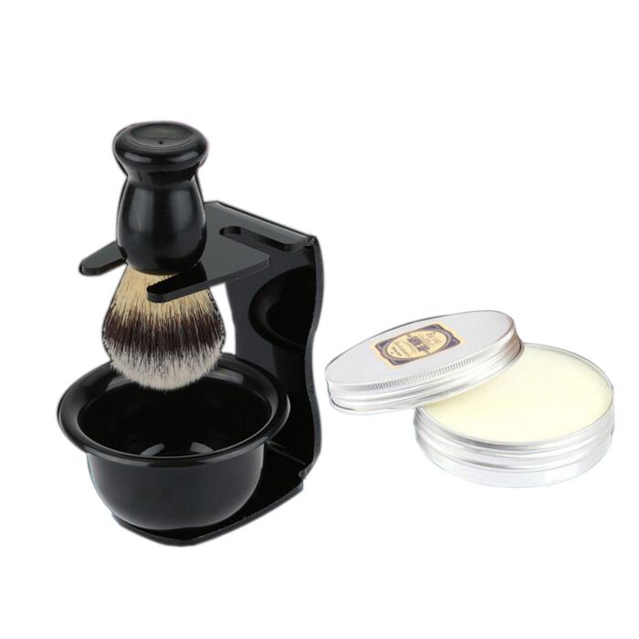 4pc/set Synthetic Shaving Brush Soap Acrylic Razor Stand Shave Bowl