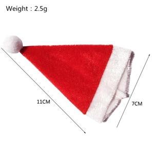 10 шт./лот, модная Мини Рождественская шапка Санта-Клауса на чашку, крышка для бутылки, аксессуары для рождественских ремесел, подарок, украше...