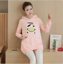 Plus Velvet Cotton Maternity Hoodie Sweatshirt Fleece Tops Pullover Clothing Clothes For Pregnant Women Autumn Outerwear
