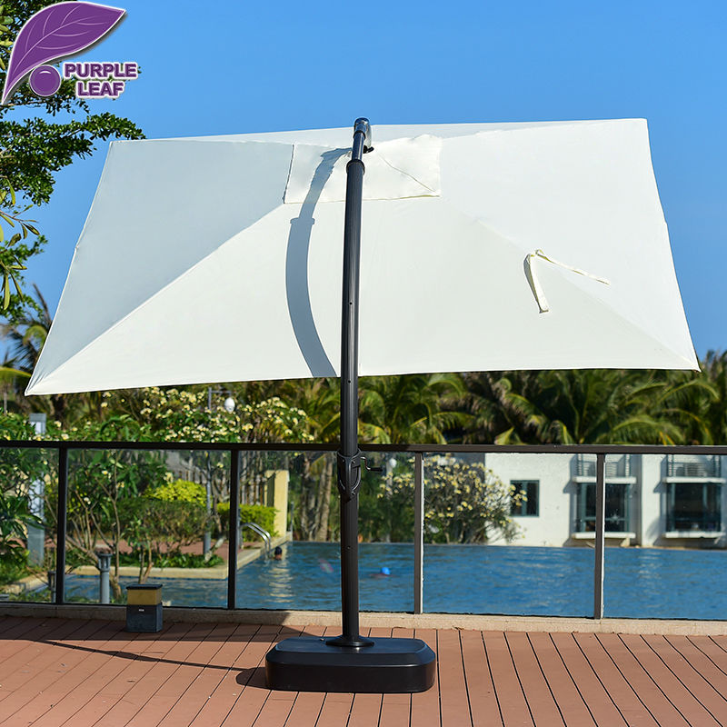 Purple Leaf Patio 13.2ft Aluminum Offset Cantilever Umbrella With Tank Base  Curved Column Cafe Beach